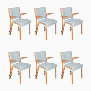 French Oak Dining Chairs by Hugues Steiner for Steiner, 1960s, Set of 6
