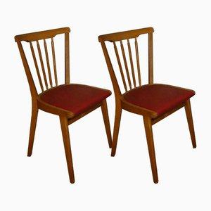 Mid-Century Esszimmerstühle aus Holz, 2er Set