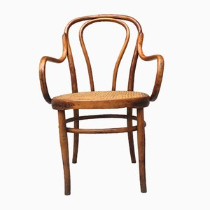 Italian Wooden and Vienna Straw Chair by Thonet, 1950s
