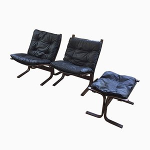 Model Siesta Chairs and Ottoman by Ingmar Relling for Westnofa, 1960s, Set of 3