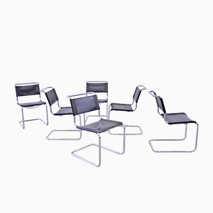 Black Leather S33 Dining Chairs by Mart Stam & Marcel Breuer for Thonet, 1970s, Set of 6