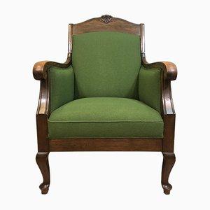 Antiker Jugendstil Sessel mit grünem Bezug