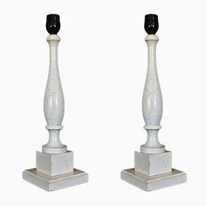 Weiße Tischlampen aus Holz, 1970er, 2er Set