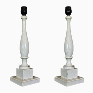White Wood Table Lamps, 1970s, Set of 2