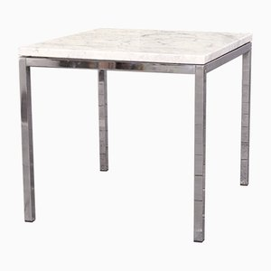 Mid-Century Marble & Chrome Side Table