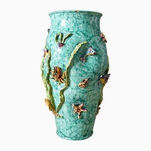 Jarrón italiano de cerámica de Vietri Scotto, años 50