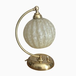 Vintage Brass and Glass Table Lamp from Clichy
