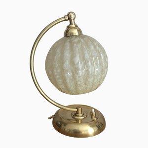 Vintage Tischlampe aus Messing & Glas von Clichy