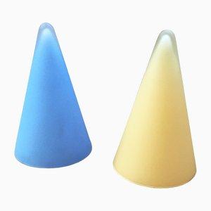 Lampes de Bureau Triangulaires en Verre Opaque de SCE, années 80, Set de 2