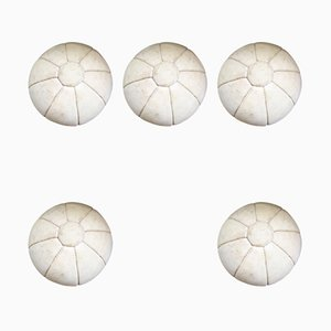 French Suede Medicine Balls, 1950s, Set of 5