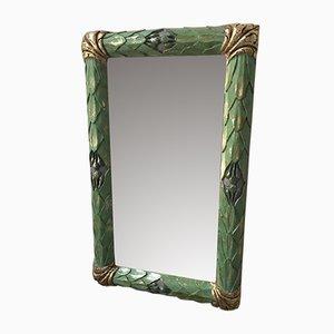 Espejo antiguo pequeño con marco de madera