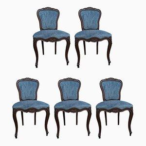 Sillas de comedor francesas de terciopelo azul y caoba, años 30. Juego de 5