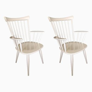 White Spindle Back Armchairs, 1950s, Set of 2