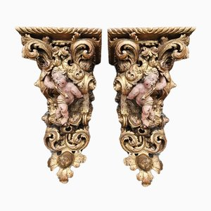 Antique Baroque Corbels, Set of 2