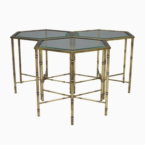 Brass & Glass Side Tables, 1970s, Set of 3
