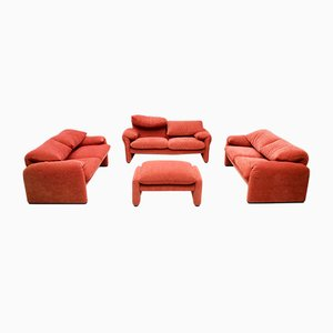 Sofa & Ottoman Set by Vico Magistretti for Cassina, Set of 4