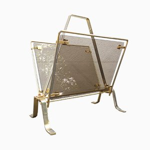 Italian Brass and Glass Magazine Rack, 1950s