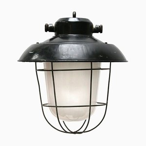 Black Enamel Frosted Glass Ceiling Lamp, 1950s