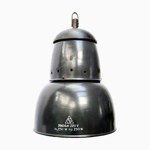 Dunkelblau emaillierte Deckenlampe aus Gusseisen, 1950er