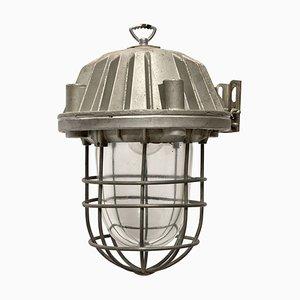 Deckenlampe aus grauem Metall & Klarglas, 1950er