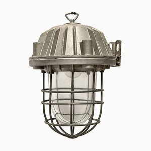Gray Metal Clear Glass Ceiling Lamp, 1950s