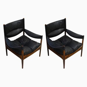 Modus Rosewood and Black Leather Armchairs by Kristian Vedel for Søren Wiladsen, 1970s, Set of 2