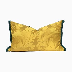 Venetian Yellow Silk Damask Pillow by Katrin Herden for Sohil Design
