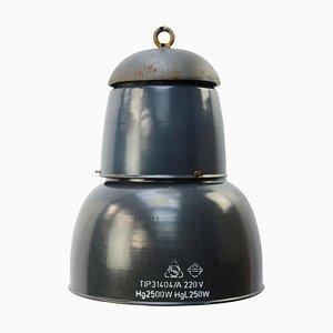 Dunkelblau emaillierte Deckenlampe, 1950er