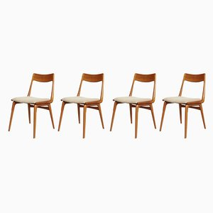 Mid-Century Boomerang Esszimmerstühle von Erik Christensen für Slagelse Møbelværk, 4er Set