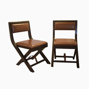 Mahogany and Leather Folding Chairs, 1950s, Set of 2
