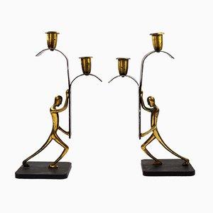 Art Déco Kerzenständer aus Bronze von Karl Hagenauer für Hagenauer Werkstätten, 1940er, 2er Set