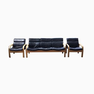 Divano in faggio curvo e pelle nera con sedie, anni '60, set di 3