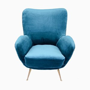 Velvet & Brass Lounge Chair, 1960s