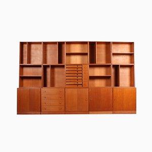 Mueble de pared vintage de pino, años 50