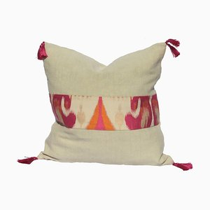 Ikat Jacquard and Linen Pillow by Katrin Herden for Sohil Design