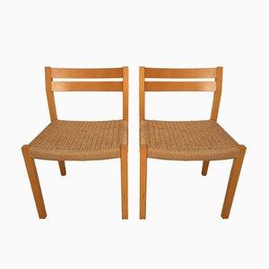 Chaises de Salle à Manger Paper Cord par Niels Otto Møller pour JL Møllers, Danemark, années 60, Set de 2