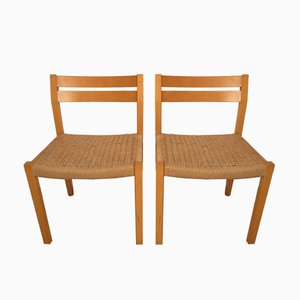 Danish Paper Cord Dining Chairs by Niels Otto Møller for J.L. Møllers, 1960s, Set of 2