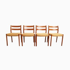 Sedie da pranzo nr. 84 in teak di Niels Otto Møller per J.L. Møllers, anni '70, set di 4