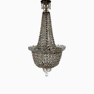 Antiker Kronleuchter mit Kristallbehang, 1900er