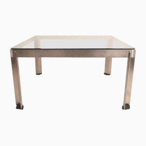 Table Basse Modèle T113 en Acier Inoxydable et en Verre par Centro Progetti pour Tecno, Italie, années 70