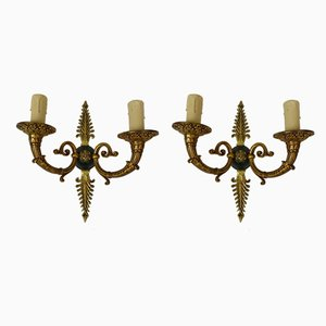 Lámparas de pared vintage de bronce. Juego de 2