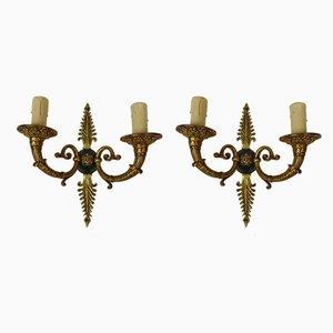 Vintage Wandlampen aus Bronze, 2er Set