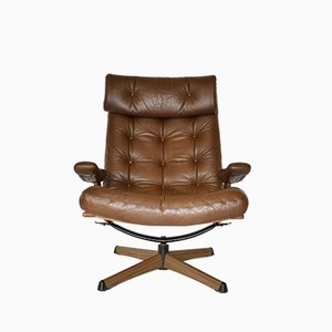 Mid-Century Leather Lounge Chair from Göte Möbler