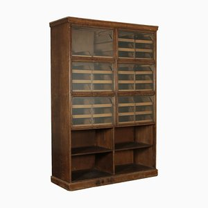 Italian Oak & Glass Cabinet, 1940s