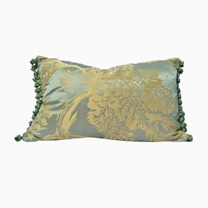 French Silk Damask Celadon Pillow by Katrin Herden for Sohil Design