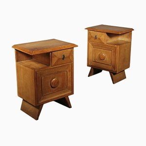 Italian Oak & Veneer Nightstands, 1940s, Set of 2