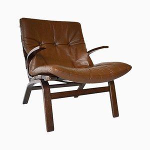 Fauteuil Vintage en Palissandre et en Cuir de Farstrup Møbler