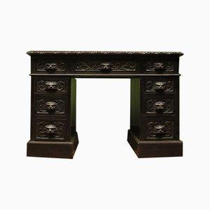 Antiker dunkelgrüner Schreibtisch aus Eiche