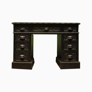 Antique Dark Green Oak Desk