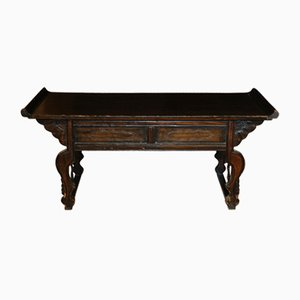 19th-Century Chinese Black Lacquered Altar Table